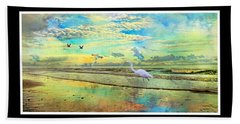 Dreaming Along The Coast -- Egret  Beach Towel by Betsy Knapp