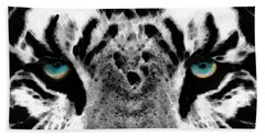 Dressed To Kill - White Tiger Art By Sharon Cummings Beach Towel by Sharon Cummings