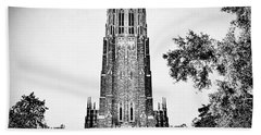 Duke Chapel In Black And White Beach Sheet by Emily Kay