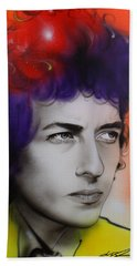 Bob Dylan - ' Dylan ' Beach Towel by Christian Chapman Art