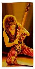 Eddie Van Halen Painting Beach Sheet by Paul Meijering