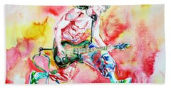 Eddie Van Halen Playing And Jumping Watercolor Portrait Beach Towel by Fabrizio Cassetta