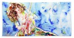 Eddie Van Halen Playing The Guitar.1 Watercolor Portrait Beach Sheet by Fabrizio Cassetta