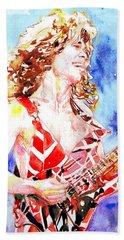 Eddie Van Halen Playing The Guitar.2 Watercolor Portrait Beach Sheet by Fabrizio Cassetta