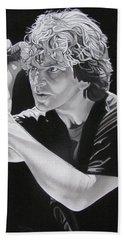 Eddie Vedder Black And White Beach Towel by Joshua Morton