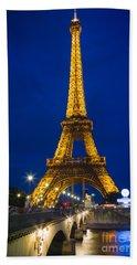 Eiffel Tower By Night Beach Sheet by Inge Johnsson