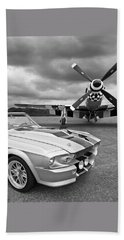 Eleanor Mustang With P51 Black And White Beach Sheet by Gill Billington