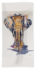 Elephant In Gold Beach Towel by Kovacs Anna Brigitta