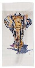 Elephant In Gold Beach Sheet by Kovacs Anna Brigitta