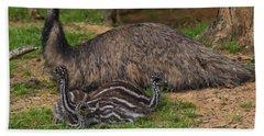 Emu And Chicks Beach Sheet by Chris Flees