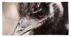 Emu Closeup Beach Towel by Karol Livote