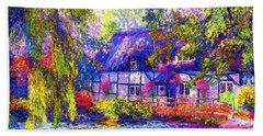 English Cottage Beach Towel by Jane Small