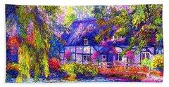 English Cottage Beach Sheet by Jane Small
