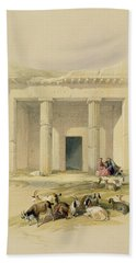 Entrance To The Caves Of Bani Hasan Beach Towel by David Roberts