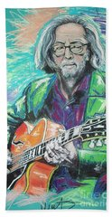 Eric Clapton Beach Sheet by Melanie D