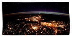 Beach Towel featuring the photograph Europe At Night, Satellite View by Science Source