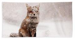 Fairytale Fox _ Red Fox In A Snow Storm Beach Sheet by Roeselien Raimond