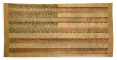 Famous Patriotic Quotes American Flag Word Art Beach Sheet by Design Turnpike
