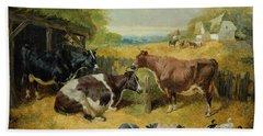 Farmyard Scene Beach Towel by John Frederick Herring Snr