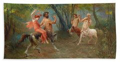 Feast Of The Centaurs Beach Sheet by Ettore Forti