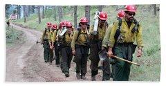 Beach Towel featuring the photograph Fire Crew Walks To Their Assignment On Myrtle Fire by Bill Gabbert