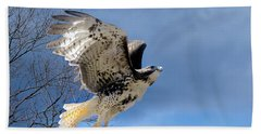 Flight Of The Red Tail Beach Sheet by Bill Wakeley