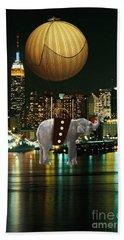 Flight Over The New York Skyline On A Hot Air Balloon Beach Sheet by Marvin Blaine