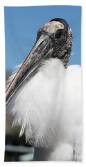 Fluffy Wood Stork Beach Sheet by Carol Groenen