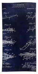 1922 Fly Fishing Lure Blue Beach Towel by Jon Neidert