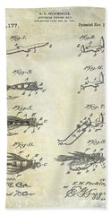 1922 Fly Fishing Lure Patent Drawing Beach Towel by Jon Neidert