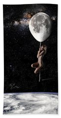 Fly Me To The Moon - Narrow Beach Sheet by Nikki Marie Smith