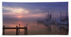 Foggy Sunset Over Swansboro Beach Sheet by Benanne Stiens