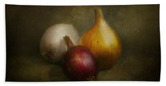 Food - Onions - Onions  Beach Towel by Mike Savad