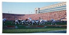 Football Game, Soldier Field, Chicago Beach Towel by Panoramic Images
