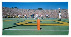 Football Game, University Of Michigan Beach Towel by Panoramic Images