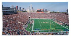 Football, Soldier Field, Chicago Beach Towel by Panoramic Images