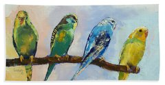 Four Parakeets Beach Towel by Michael Creese