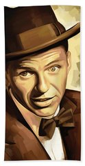 Frank Sinatra Artwork 2 Beach Sheet by Sheraz A
