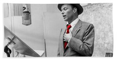 Frank Sinatra Painting Beach Towel by Marvin Blaine