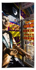 Frank Sinatra Statue, Las Vegas Beach Towel by Panoramic Images