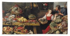 Fruit And Vegetable Market Oil On Canvas Beach Towel by Frans Snyders