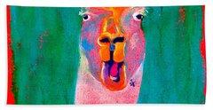Funky Llama Art Print Beach Sheet by Sue Jacobi