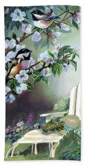 Chickadees In Blossom Tree Beach Towel by Regina Femrite