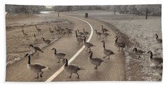 Geese Crossing Beach Sheet by Jane Linders