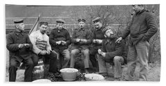 Germans Peeling Potatoes Beach Towel by Underwood Archives