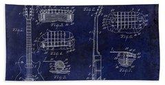 Gibson Les Paul Patent Drawing Blue Beach Towel by Jon Neidert