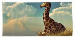 Giraffe And Distant Mountain Beach Sheet by Daniel Eskridge