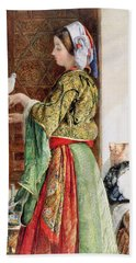 Girl With Two Caged Doves, Cairo, 1864 Beach Towel by John Frederick Lewis