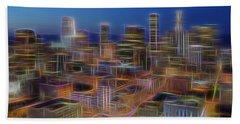 Glowing City Beach Towel by Kelley King