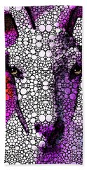 Goat - Pinky - Stone Rock'd Art By Sharon Cummings Beach Towel by Sharon Cummings